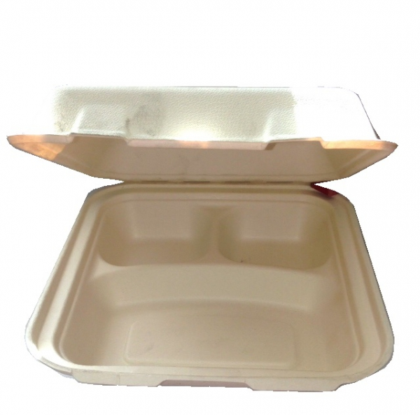 """9"""" 3 Section Biodegradable Meal Box Case 200"""