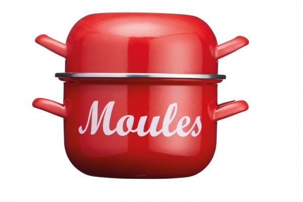 Enamel Mussel Pot Red 2.5L
